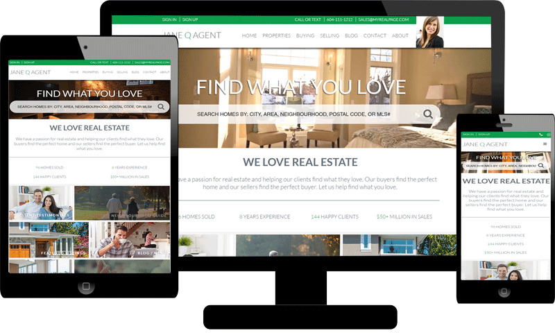 Responsive website themes on myRealPage